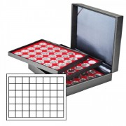 Coin case NERA XL with 3 trays and light red coin inserts