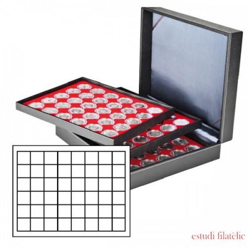 Lindner 2365-2148E Estuche NERA XL con 3 bandejas e inserciones de monedas de color rojo claro