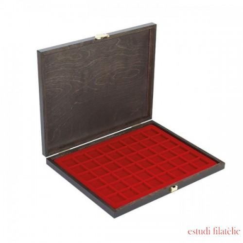 Lindner S2491-2748E Estuche de madera CARUS-1 con un inserto rojo oscuro para 48 placas chapas cava
