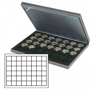 NERA M coin case with a black insert with 48 square compartments