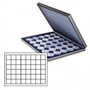 NERA M coin case with a dark blue insert with 48 square compartments