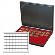 NERA M coin case with a dark red insert with 48 square compartments