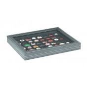 Lindner 2367-2148CE Estuche NERA M PLUS inserto negro con 48 compartimentos cuadrados