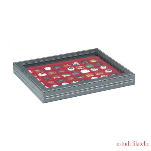 Lindner 2367-2748E Estuche NERA M PLUS inserto rojo oscuro 48 compartimentos cuadrados