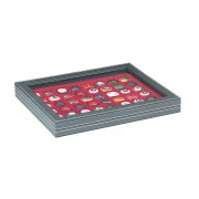 NERA M PLUS coin case with a light red insert with 48 square compartments