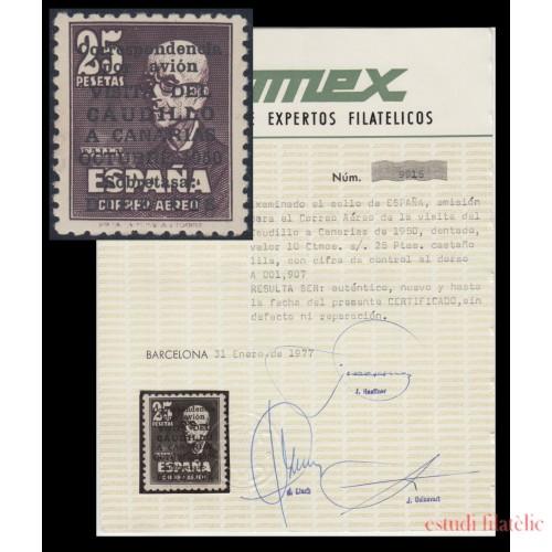 España Spain Nº 1090 1951 Viaje del Caudillo a Canarias Centraje Extraordinario COMEX  nº 9915 MNH