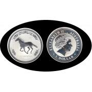Australia 2002 1 onza de plata 1$ 999 Ag Año chino del caballo Horse