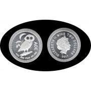 Niue 2017 1 onza Plata 2 $ 999 Ag Silver Lechuza de Atenea