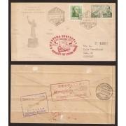 España Carta Nº 945 y 1021  Madrid a Caracas 1949 Primer Correo Aéreo Junípero