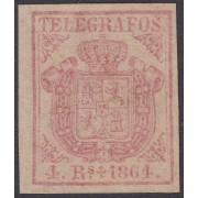 España Spain Telégrafos 2 1864 Escudo de España  MNH