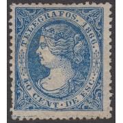 España Spain Telégrafos 14 1866  Isabel II MNH