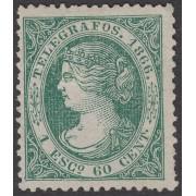 España Spain Telégrafos 15 1866  Isabel II