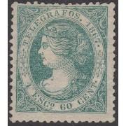 España Spain Telégrafos 19 1867  Isabel II  MH