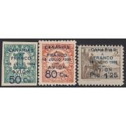 España 11/13 1937 Canarias Sellos republicanos y nacionales habilitados MH