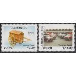 Upaep Perú 1054/55 1994 Carretilla postal antigua Furgonetas modernas car MNH