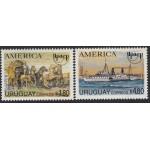 Upaep Uruguay 1487/88 1994 Carreta postal Barco y Eolo MNH