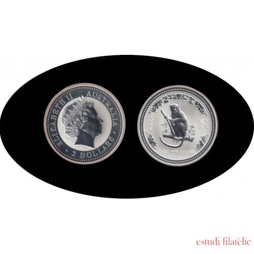 Australia Mono Monkey 2 onza oz 2004 2 dollars Plata Silver
