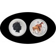 Australia  Caballo Horse 1 onza 2014 Color Proof Plata