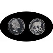Cook Islands 50 $ 1990 Mono Monkey Leaf Elisabeth II Plata