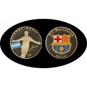 FC Barcelona Lionel Messi Escudo del Barça Bañada en Oro