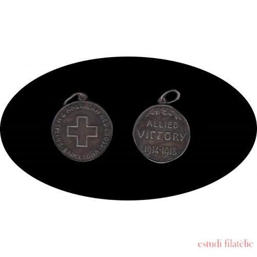 Medalla Red Cross Cruz Roja Allied Victory 1914 - 1918 Barcelona
