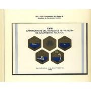 España Spain Hojitas Recuerdo 24 1974 FNMT Campeonato del Mundo de Tetrathlon Tirada: 100 Nº 00000 Muestra Natación