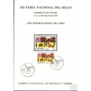 España Spain Hojitas Recuerdo 77 1979 FNMT Año Internacional Niño