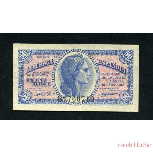 España Billete 50 Céntimos 1937 República Española SC